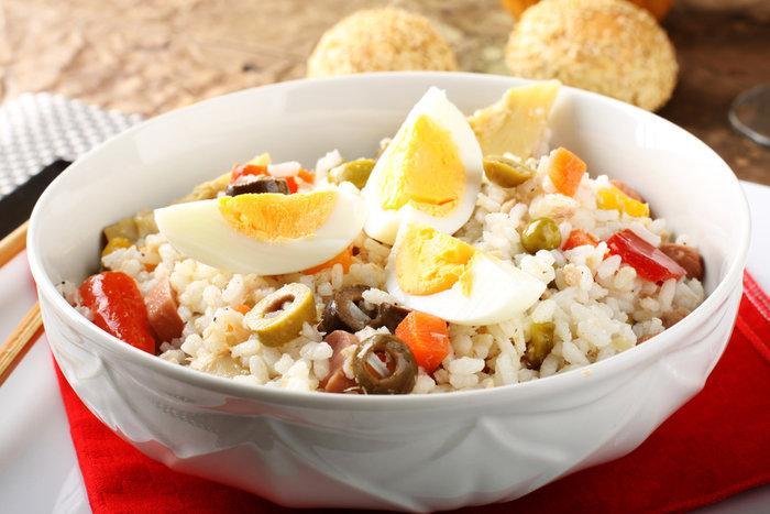 Rice salad on bowl