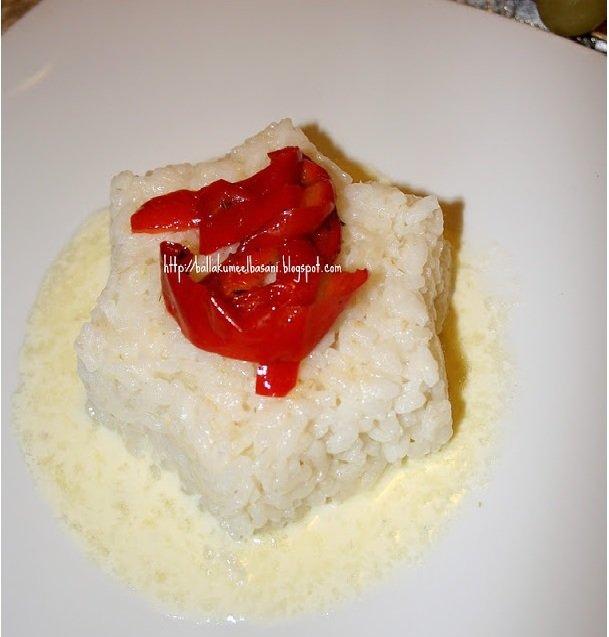 Pilaf me krem djathi dhe speca te kuq